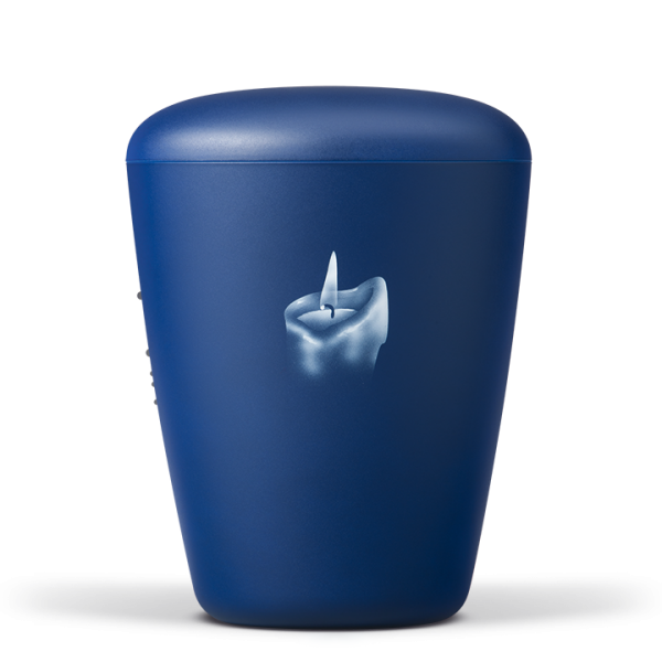 Naturstoffurne saphirblau-velour mit Kerzenmotiv