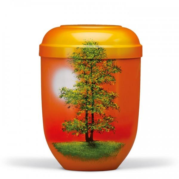 Naturstoffurne terracottafarben, Motiv: Herbstbaum
