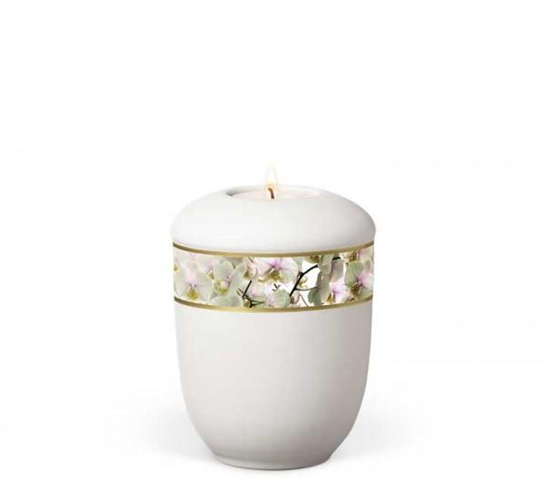 Gedenkurne aus Keramik matt-weiss, Dekorband Orchideen