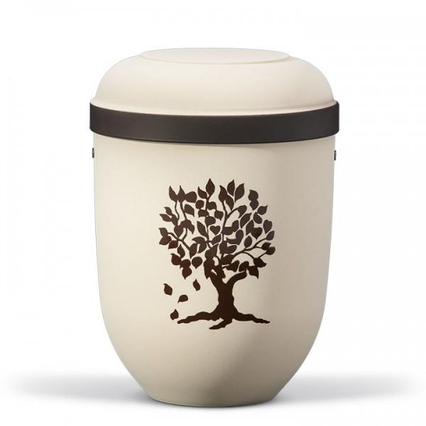 Naturstoffurne hell-beige-velour, Dekor: Lebensbaum braun