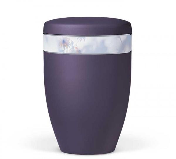 """Naturstoffurne violett velours mit Dekorband """"Floral Farblich"""""""