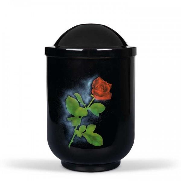 Stahlurne schwarz, Motiv Rose US3410