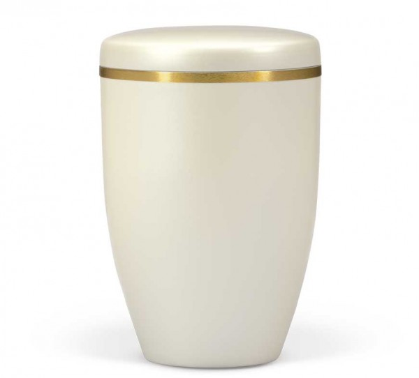 Stahlurne cremeweiss perlmutt mit Goldband US6236