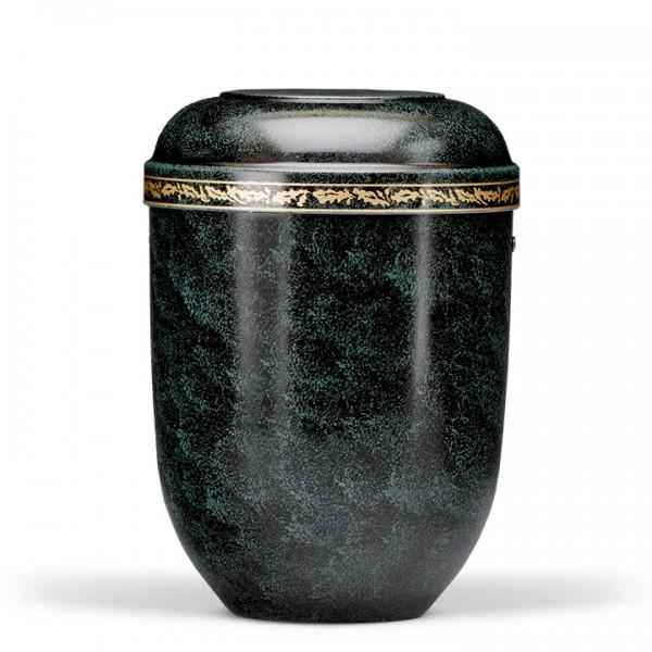 Naturstoffurne schwarz-grün patina mit Eichenlaubdekor