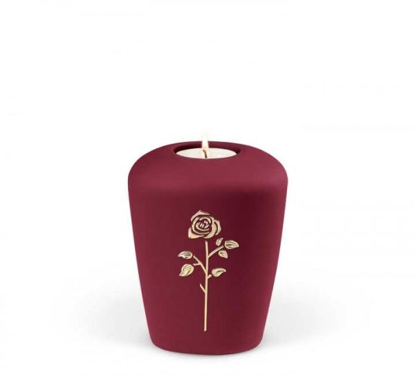 Gedenkurne Keramik weinrot, Rose Stripdome
