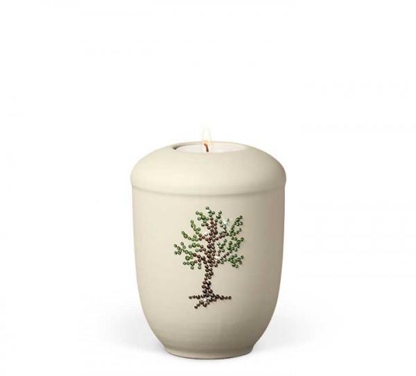 Gedenkurne aus Keramik elfenbein-beige, Baum natur