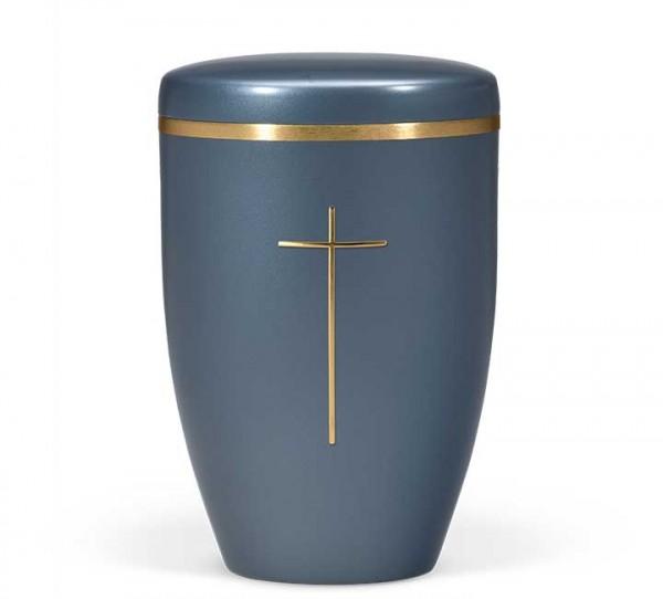 Stahlurne blau perlmutt mit Stripdome Kreuz