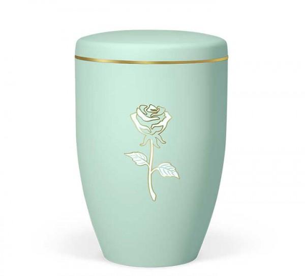Naturstoffurne mintgürn, Dekor Rose gold/weiss