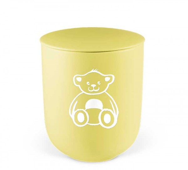 Keramik-Kleinurne gelb, Dekor Teddybär