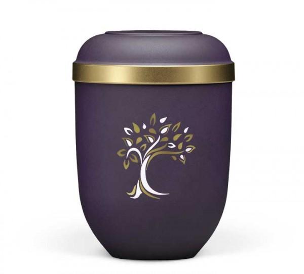 Naturstoffurne violett velours, Baum ArtDecor