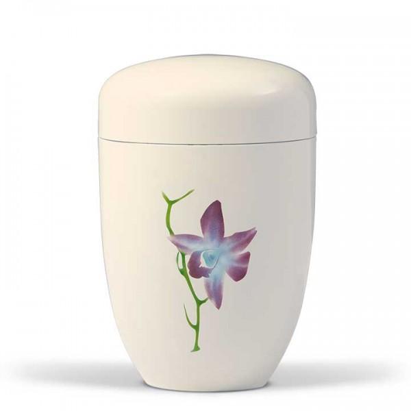 Stahlurne cremeweiß, Motiv Orchidee US3604