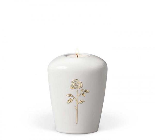 Gedenkurne Keramik cremeweiß, Rose Stripdome