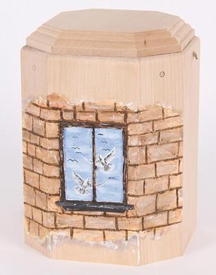 """Gutenberger-Urne aus Buche """"Art"""" Motiv Mauer mit Fenster"""