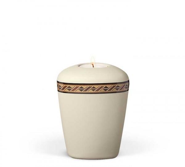 Gedenkurne aus Keramik beige-velours, Dekor Rautenkordel