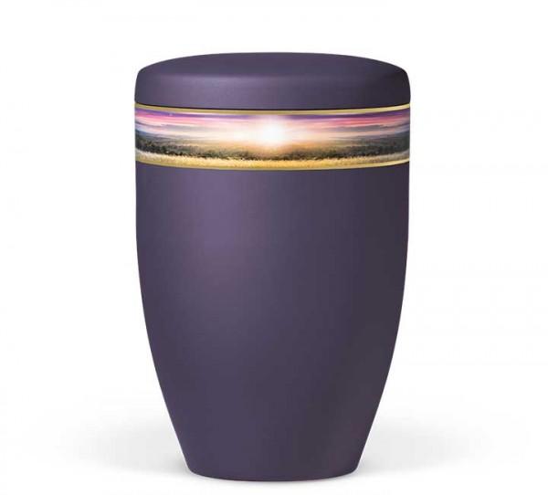 """Naturstoffurne violett-velours mit Dekor """"Landschaft"""""""