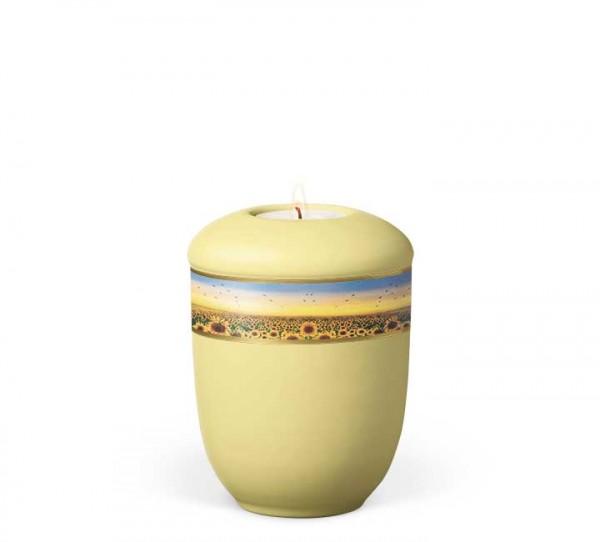 Gedenkurne Keramik gleb, Dekor Sonnenblumenwiese