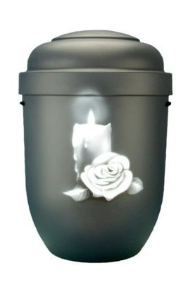 Naturstoffurne anthrazit, Motiv: Kerze mit Rosenblüte