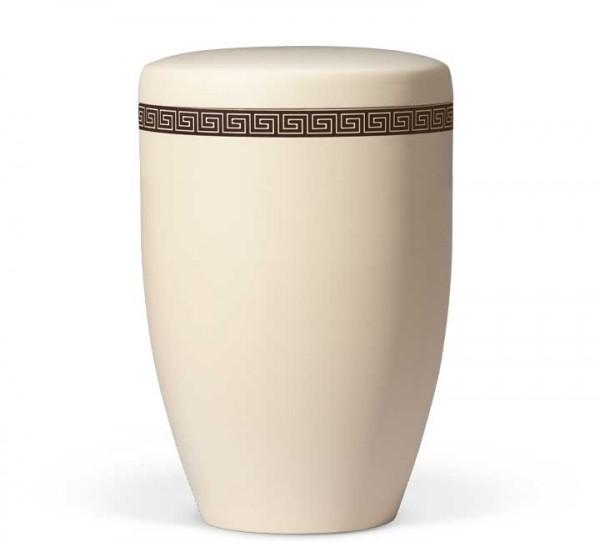 Stahlurne elfenbein-beige mit Dekor Mäander klassisch