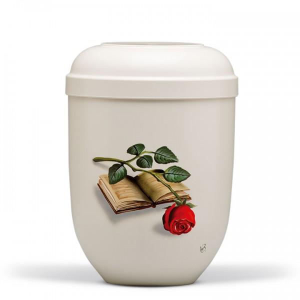 Naturstoffurne cremeweiss, Motiv: Buch mit Rose handgemalt