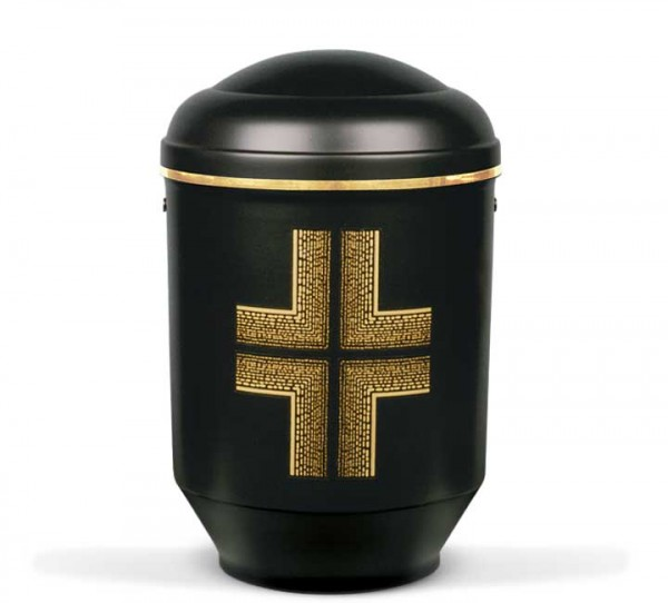 Stahlurne schwarz matt, Dekor modernes Kreuz 2360GB-K