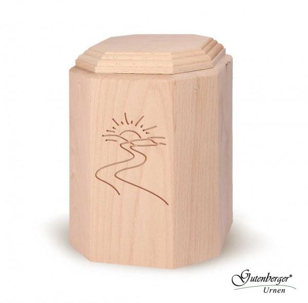Gutenberger-Urne aus Buche massiv mit Motiv Sonne/Weg
