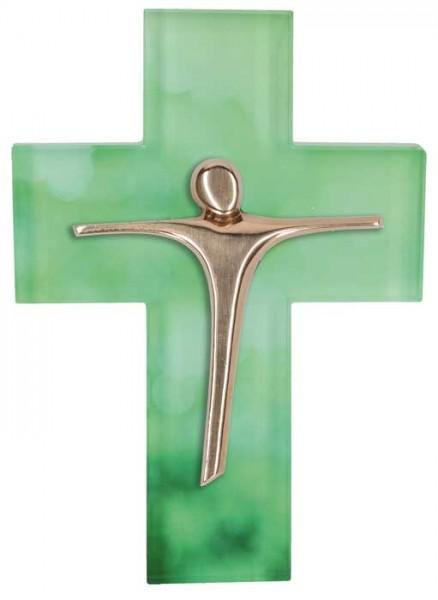 Glaskreuz mit Korpus aus Bronze