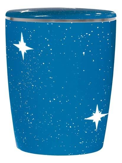 Naturkautschuk-Urne Sternenhimmel blau