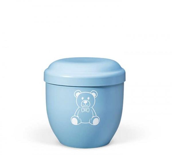 Naturstoff-Kleinurne himmelblau, Dekor Teddybär