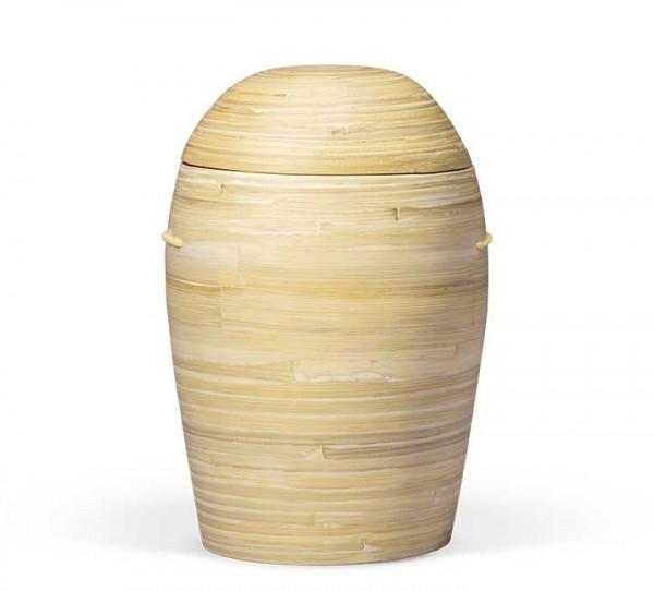 Bambusurne natur-beige, gewölbter Deckel