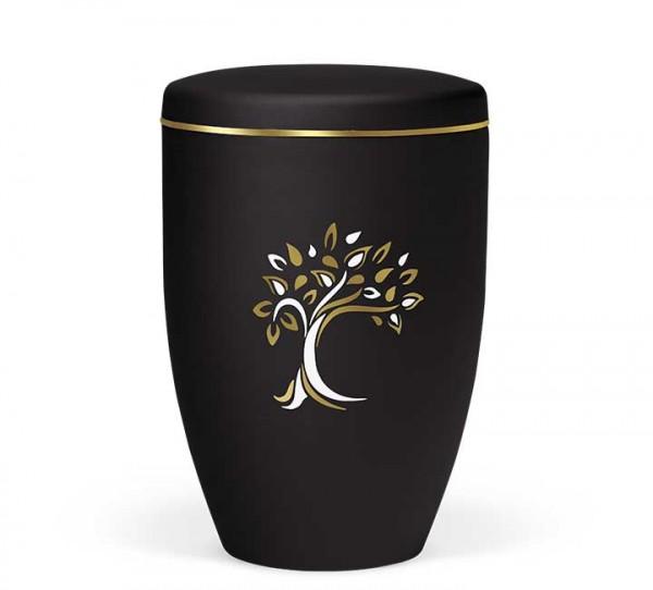 Naturstoffurne anthrazit-velour, Baum ArtDecor