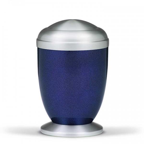 Stahlurne kobalt-blau perlmutt, Ziehesta Deckel und Sockel