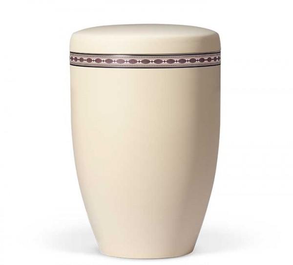 Stahlurne elfenbein-beige mit Dekor Intarsien Imitation