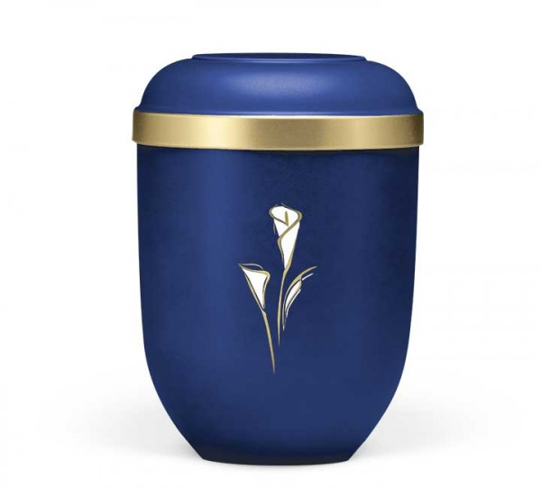Naturstoffurne saphierblau velours, Dekor Calla