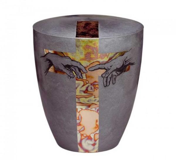 Urne Genesis silber Hand to Hand, Design Kreuz