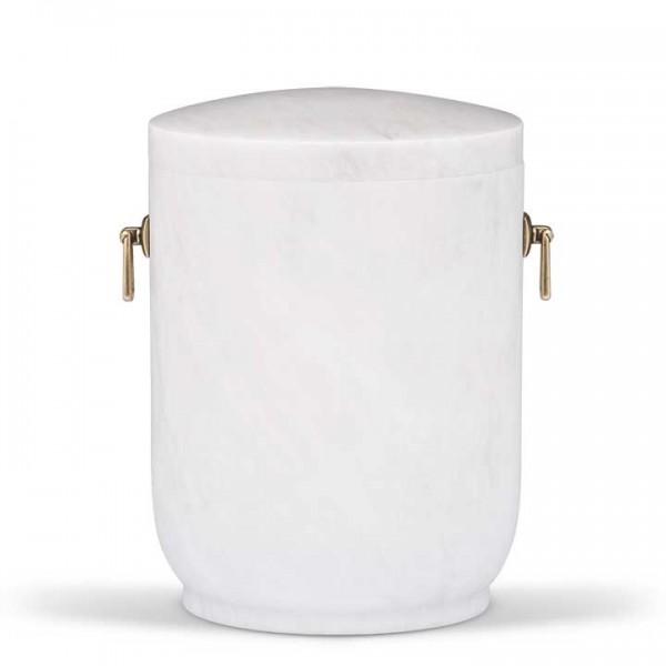 Marmorurne rund weiß mit Adern