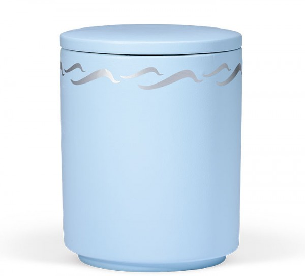 Seeurne atlatikblau mit Wellendekor silber