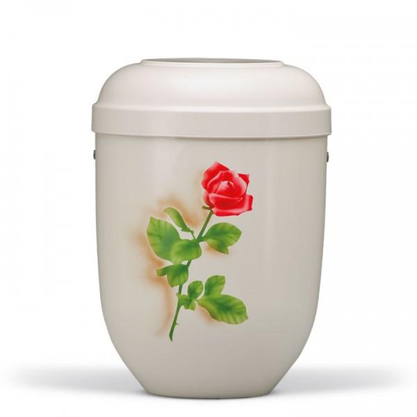 Naturstoffurne cremeweiss, Airbrusch-Motiv: Rose