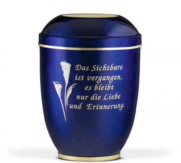 Stahlurne kobaltblau mit Dekor Calla gold/weiß und Trauertext v6
