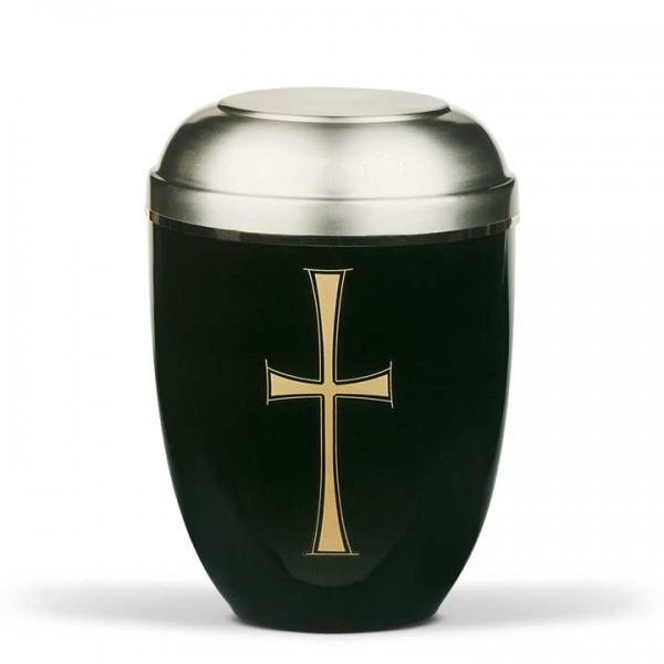 Stahlurne schwarz mit zinnfarbenem Deckel, Dekor Kreuz