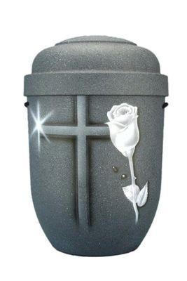Naturstoffurne grau gesprenkelt, Motiv: Kreuz mit Rose