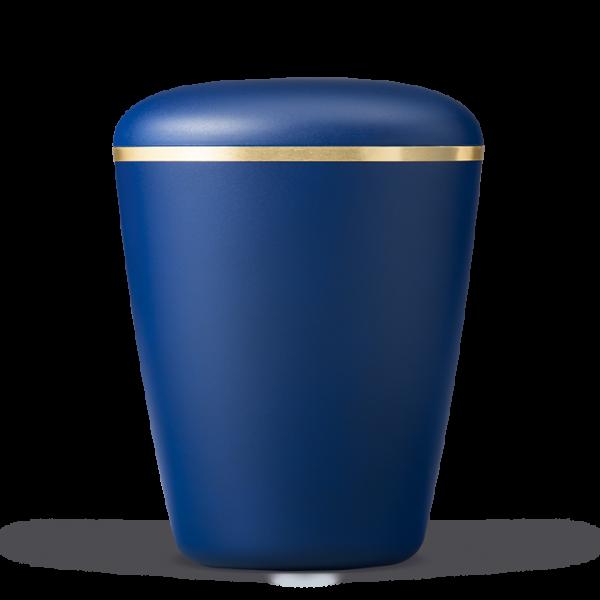 Naturstoffurne saphirblau-velour mit Goldband